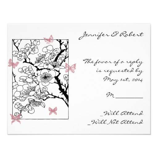 Sueños de la mariposa: Tarjeta color de rosa polvo Invitación