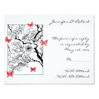 Sueños de la mariposa: Tarjeta roja de la Invitación 10,8 X 13,9 Cm