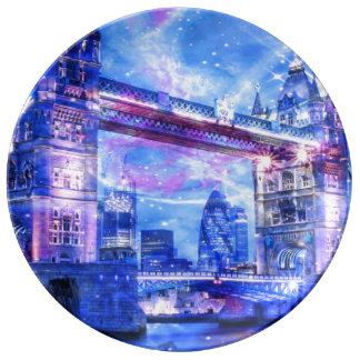 Sueños de Londres del amante Plato De Porcelana