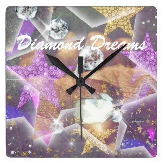 Sueños del diamante reloj cuadrado