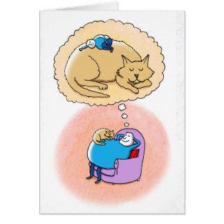 Sueños del gato tarjeta de felicitación