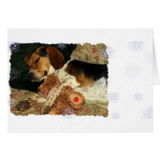 Sueños dulces - perro del beagle Snoopy Tarjeton