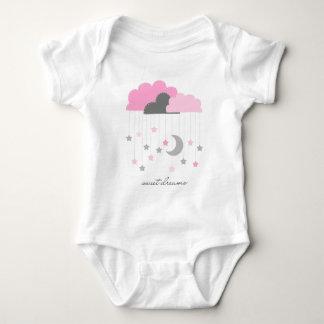 Sueños dulces rosados y mono gris de la niña body para bebé