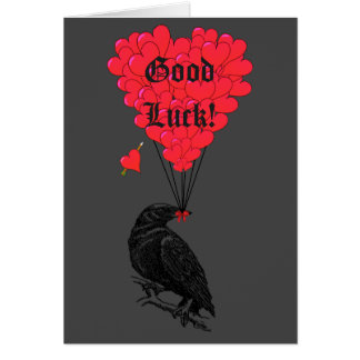 Suerte del cuervo gótico negro y del corazón tarjeta pequeña