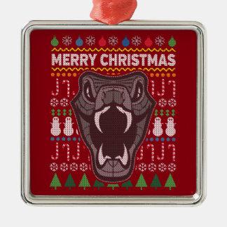 Suéter feo de las Felices Navidad de la fauna de Adorno Navideño Cuadrado De Metal