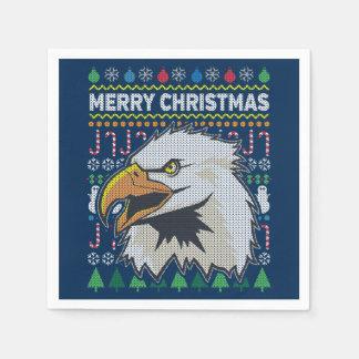 Suéter feo de las Felices Navidad de la fauna de Servilleta Desechable