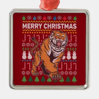 Suéter feo de las Felices Navidad de la fauna del Adorno Navideño Cuadrado De Metal
