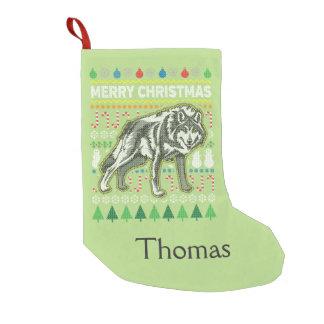 Suéter feo de las Felices Navidad de la fauna del Calcetín Navideño Pequeño