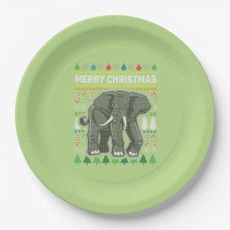 Suéter feo de las Felices Navidad de la fauna del Plato De Papel