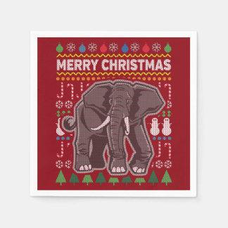Suéter feo de las Felices Navidad de la fauna del Servilleta Desechable