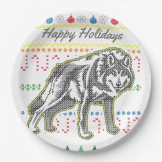 Suéter feo de las Felices Navidad del lobo de la Plato De Papel