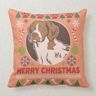 Suéter feo de las Felices Navidad del perro de Cojín Decorativo