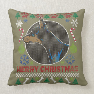 Suéter feo de las Felices Navidad del Pinscher del Cojín Decorativo