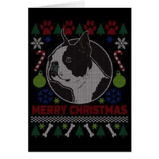 Suéter feo del navidad de la raza del perro de tarjeta de felicitación