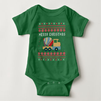 Suéter feo del navidad del camión del cemento