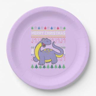 Suéter feo púrpura de las Felices Navidad de la Plato De Papel