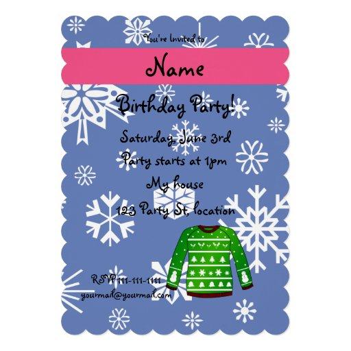 Suéter feo verde conocido de encargo del navidad invitaciones personalizada
