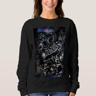 suéter gráfico negro para mujer