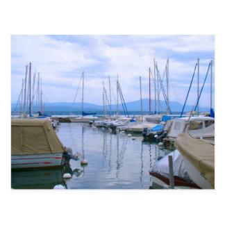 Suiza, el lago Lemán, Nyon, puerto deportivo Tarjeta Postal