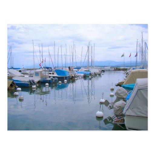 Suiza, el lago Lemán, Nyon, puerto deportivo Postales