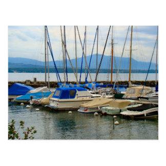 Suiza, el lago Lemán, Nyon, puerto deportivo Postal