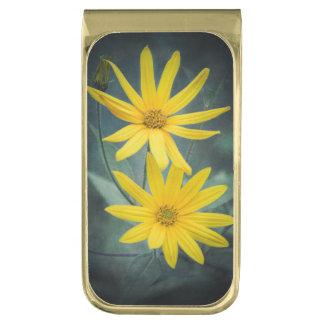 Sujeta Billetes Dorado Dos flores amarillas de alcachofa de Jerusalén