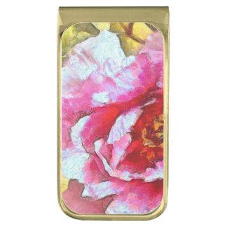Sujeta Billetes Dorado Estilo rosado de Van Gogh del Peony