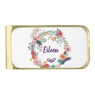 Sujeta Billetes Dorado Floral personalizada