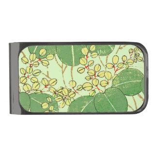 Sujeta Billetes Plomizo Diseño floral de las hojas de la impresión