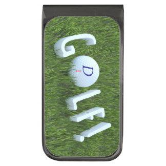 Sujeta Billetes Plomizo Pelota de golf del monograma en el clip áspero del
