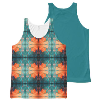 Sun anaranjado azteca camiseta de tirantes con estampado integral
