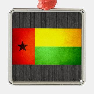 Sun besó la bandera de Guinea-Bissau Adorno Navideño Cuadrado De Metal