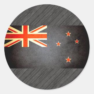 Sun besó la bandera de Nueva Zelanda Pegatina Redonda