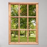 Sun con la opinión de árboles de una ventana impresiones