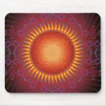 Sun psicodélico: Diseño espiral del fractal: Mouse Tapetes De Raton