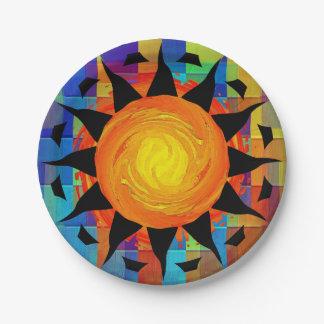 Sun tribal y arco iris plato de papel
