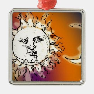 Sun y luna coloridos adorno cuadrado plateado