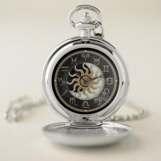 Sun y reloj de bolsillo del símbolo del zodiaco de