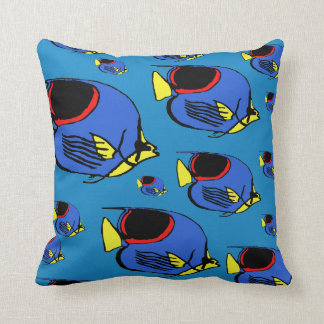 Sunfish rojo, azul y amarillo cojín decorativo