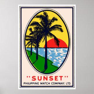 Sunset Philippine Match Company, etiqueta del LTD Póster