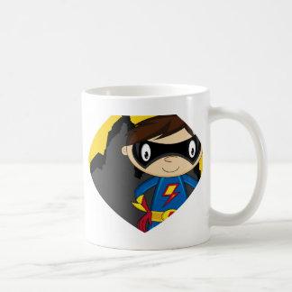 Super héroe lindo del dibujo animado taza