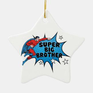 Super héroe que hace un hermano mayor adorno navideño de cerámica en forma de estrella