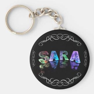 Superestrella Sara - nombre en las luces Llavero Redondo Tipo Chapa