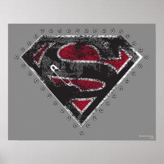 Supergirl apenó negro y rojo del logotipo póster