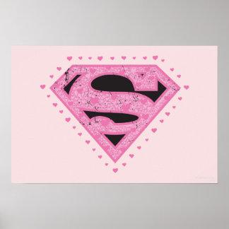 Supergirl apenó negro y rosa del logotipo póster