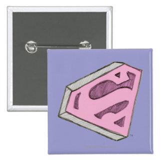 Supergirl bosquejó el logotipo rosado chapa cuadrada