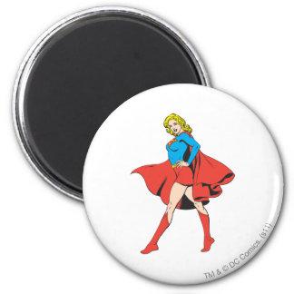 Supergirl pega una actitud imán redondo 5 cm