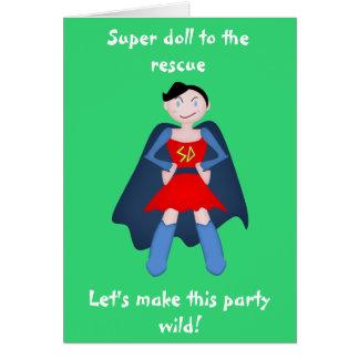 Superhéroe delincuente de la muñeca tarjeta de felicitación