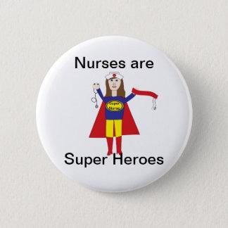 Superhéroes de las enfermeras (Brunette) Chapa Redonda De 5 Cm