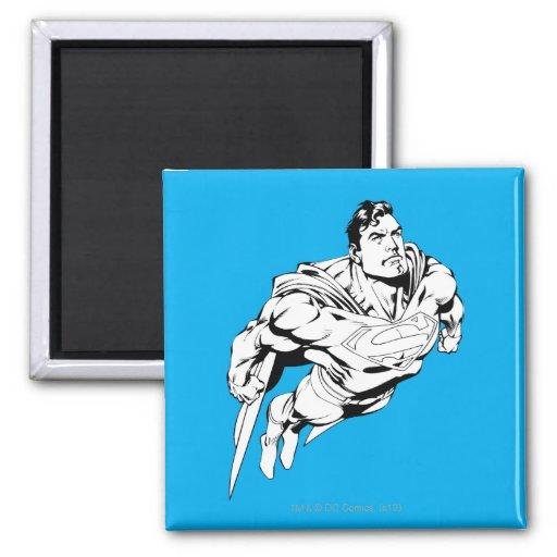 Superhombre 1 blanco y negro imán de frigorífico